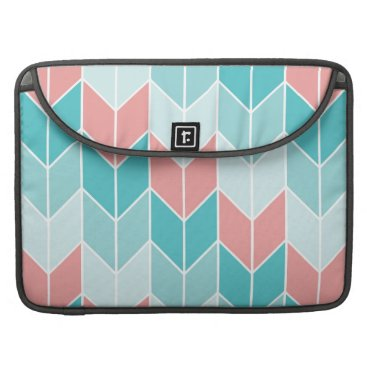 Aztec Themed Coral Aqua Blue Large Chevrons Sleeve For MacBook Pro
