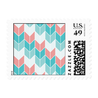 Coral Aqua Blue Large Chevrons Stamps