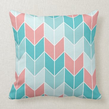Aztec Themed Coral Aqua Blue Large Chevrons Throw Pillow