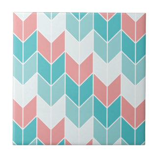 Coral Aqua Blue Large Chevrons Tile