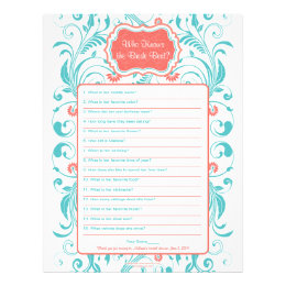 Coral Aqua Floral Bride Best Bridal Shower Game Letterhead
