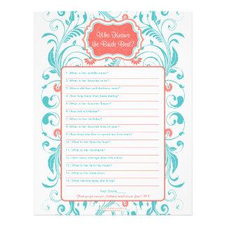 Coral Aqua Floral Bride Best Bridal Shower Game Letterhead