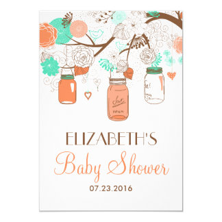 Coral & Aqua Mason Jars Baby Shower Invitation