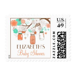 Coral & Aqua Mason Jars Baby Shower Stamp