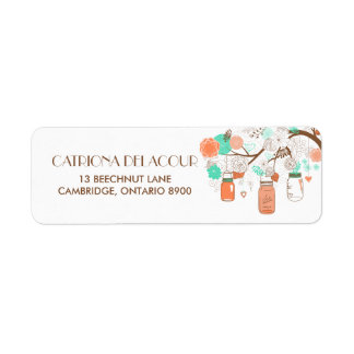 Coral & Aqua Mason Jars Return Address Label