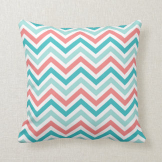 coral aqua mint chevron stripes throw pillow