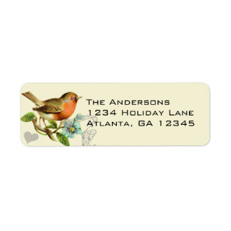 Coral & Aqua Musical Vintage Bird Return Address Label