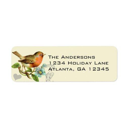 Coral & Aqua Musical Vintage Bird Return Address Return Address Labels