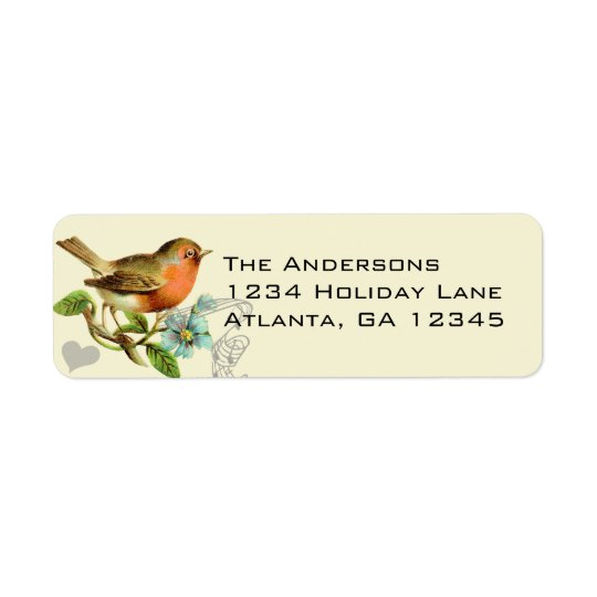 Coral & Aqua Musical Vintage Bird Return Address Label