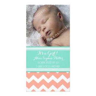 Coral Aqua Photo New Baby Birth Announcement