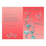 Coral Aqua Silver Butterfly Floral Wedding Program Custom Flyer