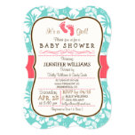 Coral, Aqua Tropical Baby Shower 5x7 Paper Invitation Card