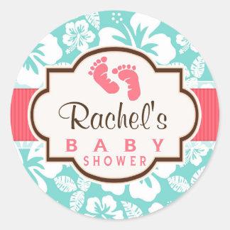 Coral, Aqua Tropical Baby Shower Classic Round Sticker