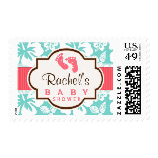 Coral, Aqua Tropical Baby Shower Postage