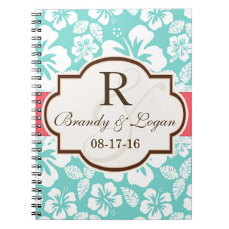 Coral, Aqua Tropical Wedding Spiral Notebooks