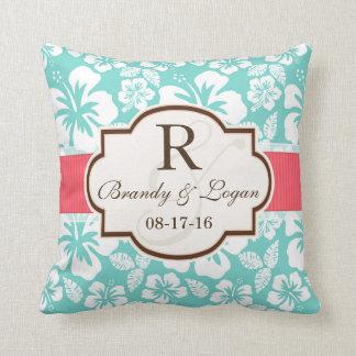 Coral, Aqua Tropical Wedding Throw Pillow