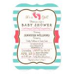 Coral, Aqua, & White Stripes Baby Shower 5x7 Paper Invitation Card