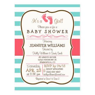 Coral, Aqua, & White Stripes Baby Shower Postcard