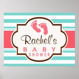 Coral, Aqua, & White Stripes Baby Shower Poster