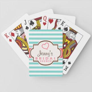 Coral, Aqua, & White Stripes Bridal Shower Card Decks