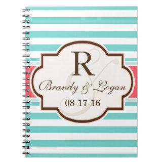 Coral, Aqua, & White Stripes Wedding Notebook