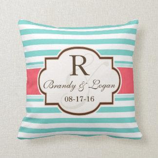 Coral, Aqua, & White Stripes Wedding Throw Pillow