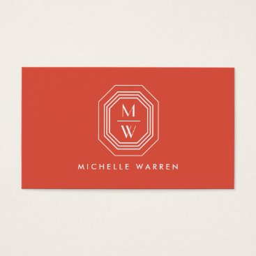 Professional Business Coral Art Deco Professional Monogram Business Card