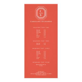 Coral Art Deco Professional Monogram Rack Card