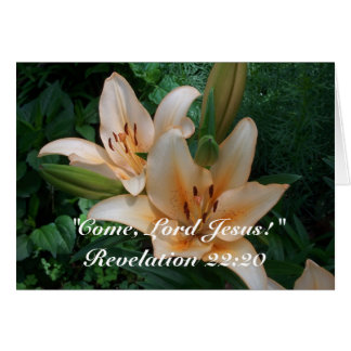 Coral Asiatic Lilies with Inspirational Bible Vers Card