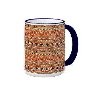 Coral Aztec Style Southwestern Pattern Ringer Mug