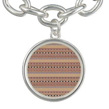 Coral Aztec Tribal Pattern Charm Bracelets