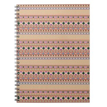 Coral Aztec Tribal Pattern Spiral Notebook
