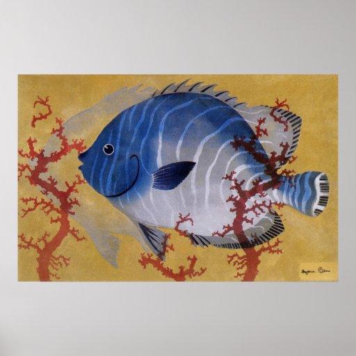 Coral azul tropical de los pescados de la vida mar