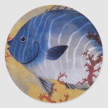 Coral azul tropical de los pescados de la vida mar etiqueta redonda