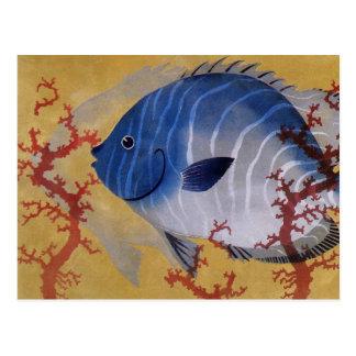 Coral azul tropical de los pescados de la vida postal