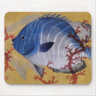 Coral azul tropical de los pescados de la vida mousepad