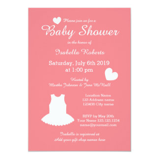 coral ballerina baby shower invitations with tutu