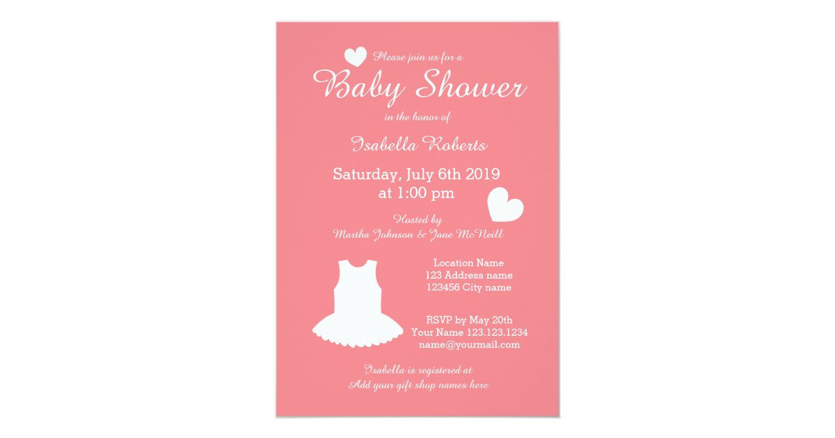 coral ballerina baby shower invitations with tutu zazzle