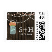 coral Barnwood mason jar personalized stamps