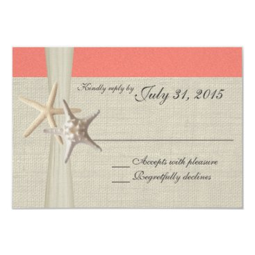 Beach Themed Coral Beach and Burlap Response Card