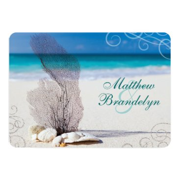 Beach Themed Coral Beach Destination Wedding Invitations
