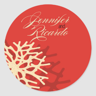 Coral Beach Envelope Decal Round Stickers