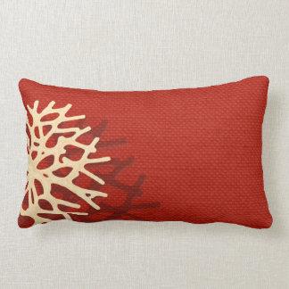 Coral Beach Linen Look (coral) Lumbar Pillow