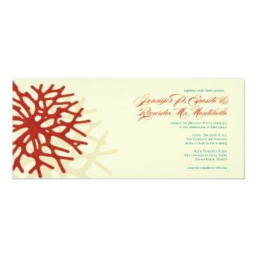 Beach Themed Coral Beach Ocean Reef Wedding Invitation