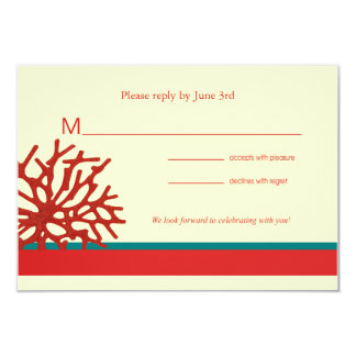 Coral Beach RSVP Response Card Personalized Invitation