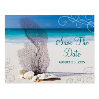 Coral Beach Save the Date Destination Wedding Card