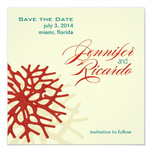 Coral Beach Save the Date 5.25x5.25 Square Paper Invitation Card