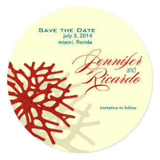 Coral Beach Save the Date Personalized Invitations