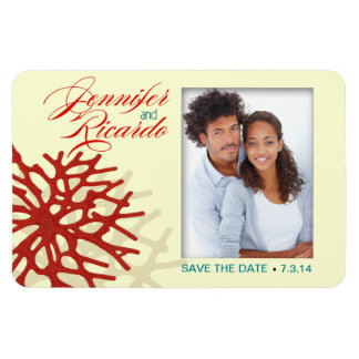 Coral Beach Save the Date Rectangular Photo Magnet
