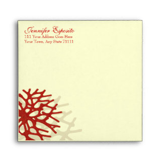 Coral Beach Square Save the Date Envelopes